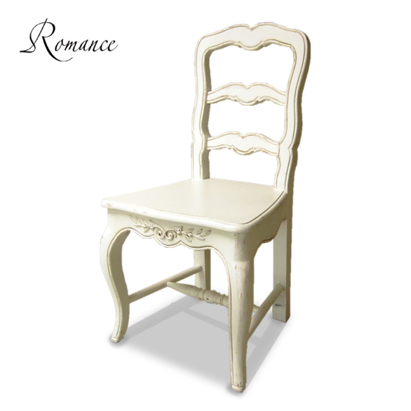 Romance ロマンス チェア(ウッドシート) 211013Country cornerカントリーコーナー社フレンチアンティーク白家具シリーズ【クラシック シャビー ホワイト 椅子 輸入家具】