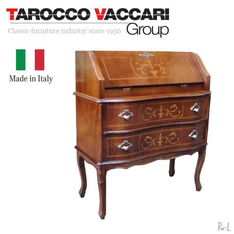 【TAROCCO VACCARI】イタリア製家具ライティングデスク 象嵌 猫脚 ブラウン ウォールナット タロッコ【宅配便・送料無料】RE023/SPA/BR