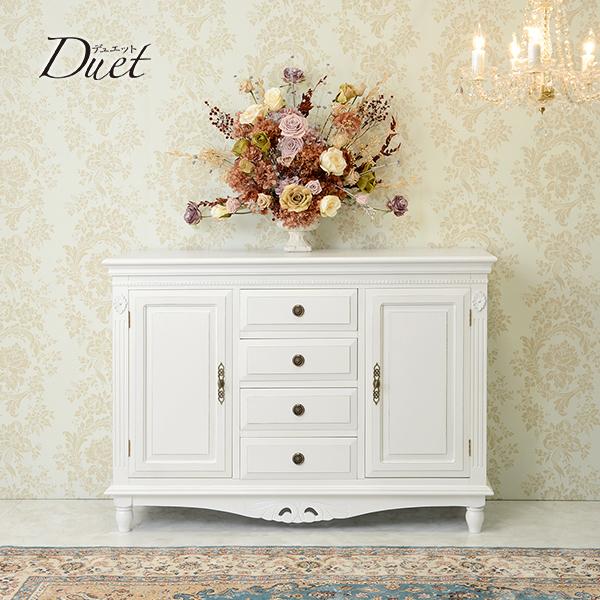 デュエット サイドボードシャビー アンティーク チェスト コンソール ホワイト おしゃれ かわいい 収納 木製 白 姫系 輸入家具 送料無料REBCC-7570