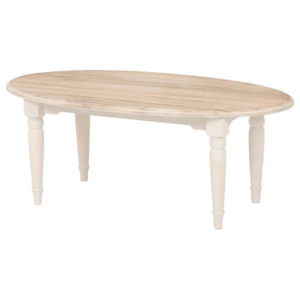 ★送料無料 ブロカントシリーズ テーブル(楕円) アンティーク風 木製 シャビー 姫系 収納MT-7335WH