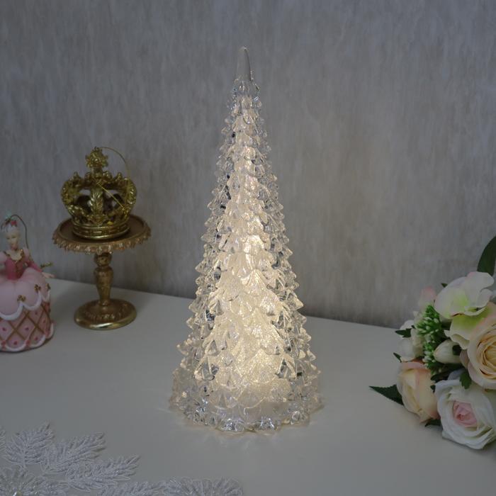 LEDテーパーツリーオブジェ Lサイズ クリスマス オブジェ ディスプレイ インテリア LED クリスマスツリー ツリー キャンドル オーナメント プレゼント ギフト おしゃれ かわいい 窓 飾り 贈り物 姫系 姫 北欧 輸入雑貨REHM-8094