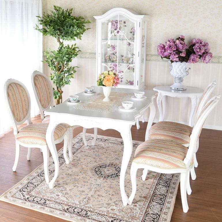 スカーレット ダイニングテーブル 5点セットホワイト マホガニー テーブル セット アンティーク クラシック ダイニング おしゃれ かわいい 北欧 白 食卓 4人 4人掛け 4人用 130 木 木製 木目 猫脚 輸入家具 送料無料RESU-NM-014WH・SU-NM-015WH2