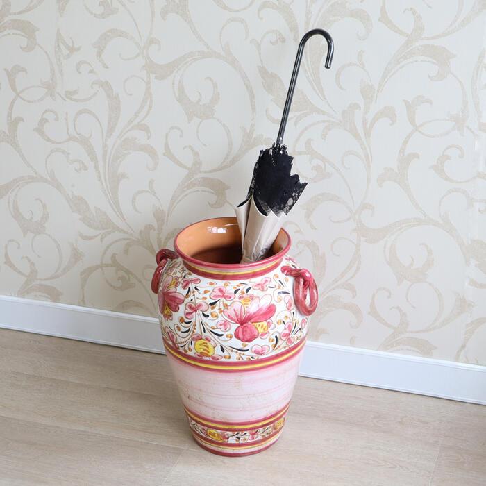 イタリア製 陶器 アンブレラスタンドアンティーク クラシック ハンドメイド インテリア ピンク ギフト プレゼント レインラック おしゃれ かわいい かさたて 傘たて 傘立て 置物 北欧 花柄 玄関 輸入雑貨 送料無料RE22-932332