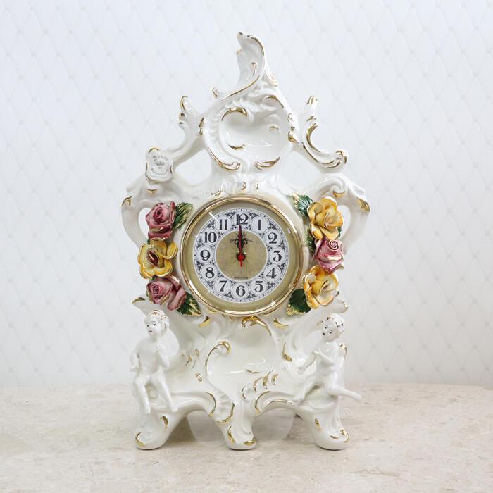 イタリア製 陶花 置時計インテリア クラシック アンティーク フラワー クロック ディスプレイ ショップ ギフト プレゼント イタリア おしゃれ かわいい 陶器 置き時計 時計 花柄 高級 北欧 輸入雑貨 送料無料RE1898