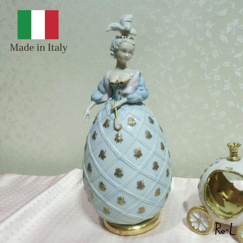 イタリア製 VILLARI ヴィラリシルビアエッグ 貴婦人の置物 ブルー ポーセリン 置物