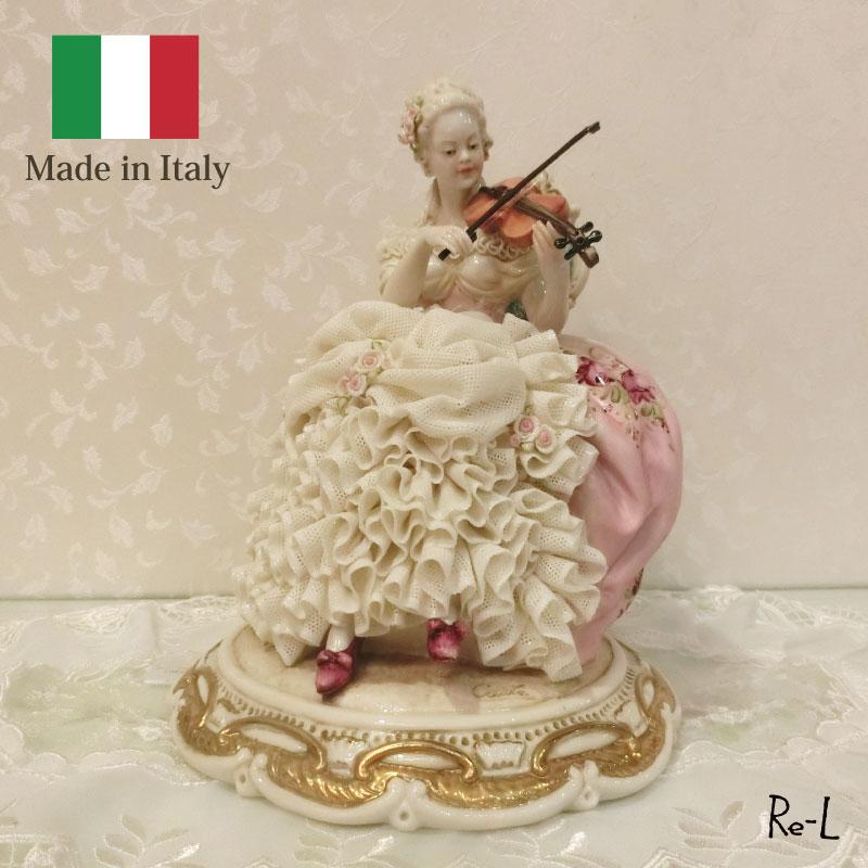 ★イタリア製 磁器人形(バイオリンを弾いた女性)ドレスレース人形 置物 磁器製 高級 オブジェ インテリア雑貨 輸入雑貨 雑貨