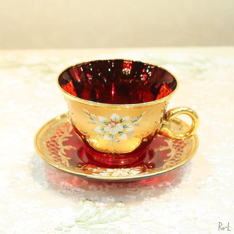 イタリア製 ヴェネチアンガラスカップ&ソーサー レッド【おしゃれ ゴージャス ティータイム】REDDI-5128