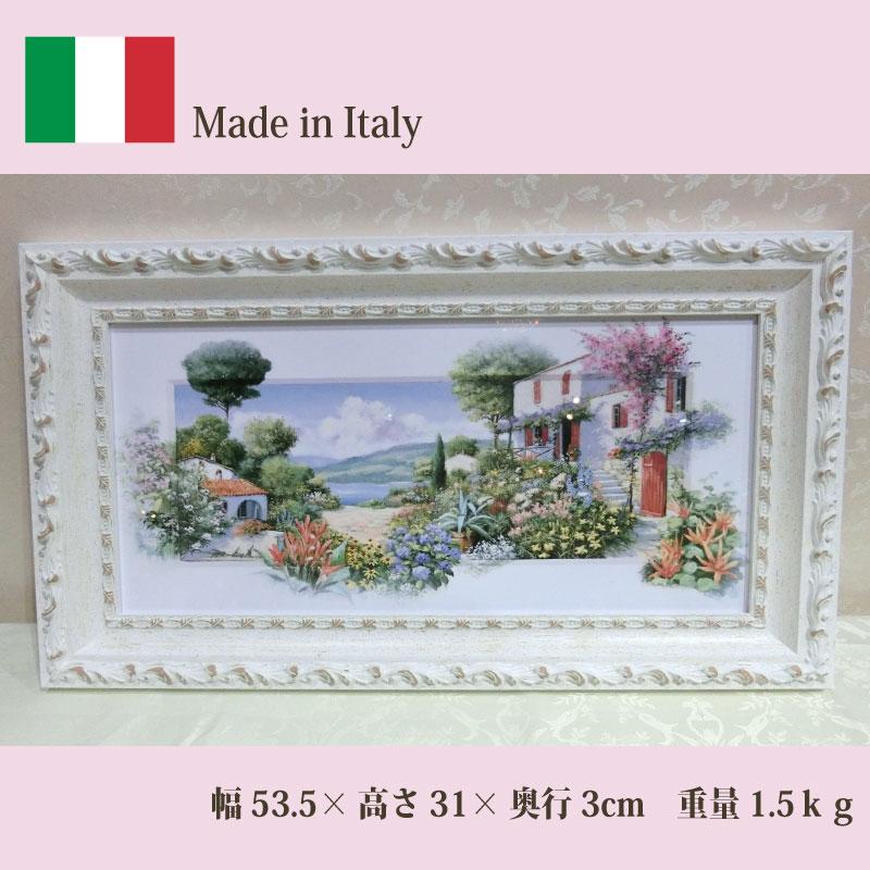 イタリア製 風景の額絵風景画 花柄 横長 ホワイト額 91659