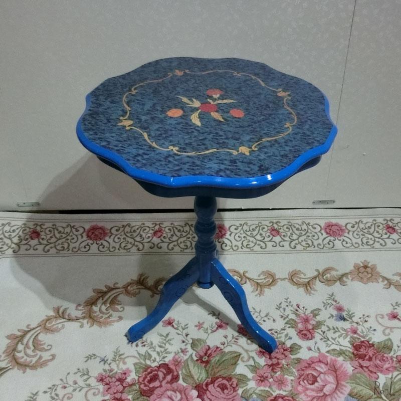 【送料無料】イタリア製 象嵌カラー ティーテーブル ラウンドテーブル ブルー 組み立て式RE51328/51509/KTV050B