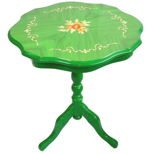 【送料無料】イタリア製 象嵌カラー ティーテーブル ラウンドテーブル グリーン 組み立て式RE51327/51510/KTV050G