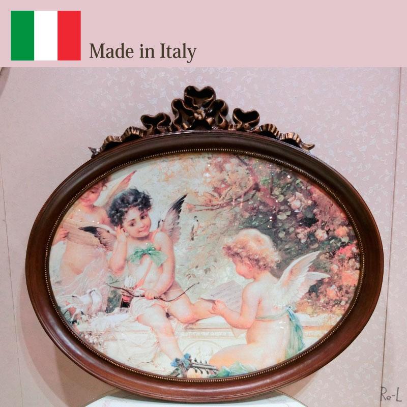 イタリア製 エンジェル 天使の額絵エンゼル画 ラウンド ブラウンリボン額REKSI/2332-194