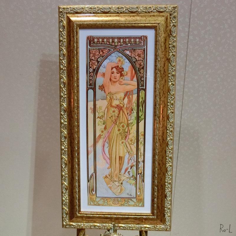 イタリア製 ミュシャ額絵 絵画 アルフォンス ミュシャ「昼の輝き」ゴールド アンティーク調REQ1700-SUM