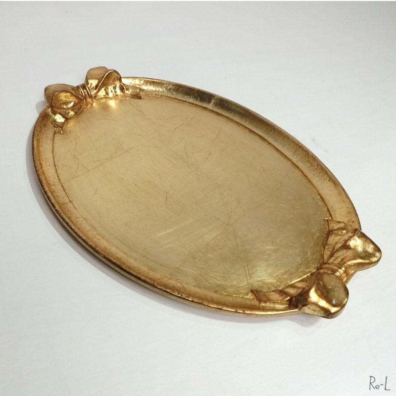 イタリア製 SOLDIソルディリボンオーバルトレイ ゴールド 31×43cm1003GS GOLD