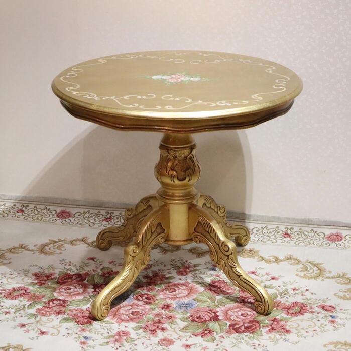 イタリア製 コーヒーテーブル ゴールド北欧 木製 アンティーク クラシック インテリア テーブル エレガント カフェ カフェテーブル ティーテーブル おしゃれ かわいい 木 丸 猫脚 イタリア ハンドメイドRET012-18ETABLE