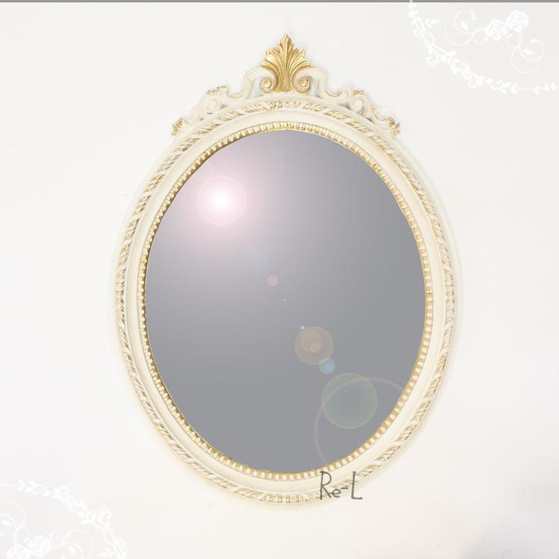 【あす楽対応】イタリア製 ホワイト・ゴールド楕円ウォールミラー 壁掛け鏡REG1-C13N・ISA-1410, BRANDSHOP KRONE:b5d24100 --- sunward.msk.ru