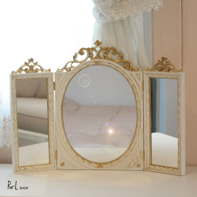 【あす楽対応】イタリア製 アンティークホワイト・ゴールドスタンド式三面鏡 三面ミラー 卓上ミラー REISA-1290
