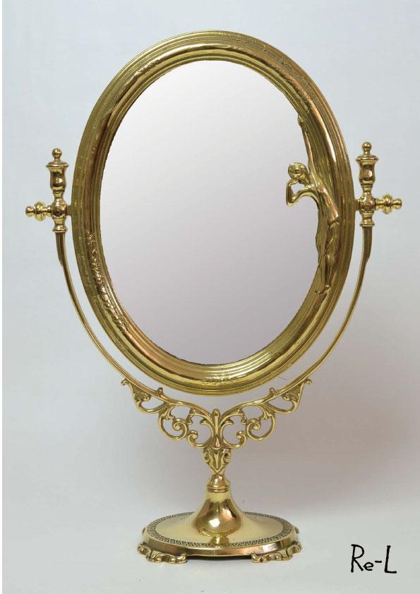 イタリア製 オーバル型 真鍮スタンドミラー Mサイズ 卓上ミラー 化粧鏡 卓上鏡 ゴールド幅26.5×奥行10.5×高さ35.5cm RE84413