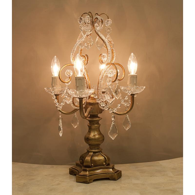 ★卓上シャンデリアランプ4灯 カラー:アンティークゴールドテーブルランプ シャンデリア型 クラシック おしゃれ RESDL1248CG