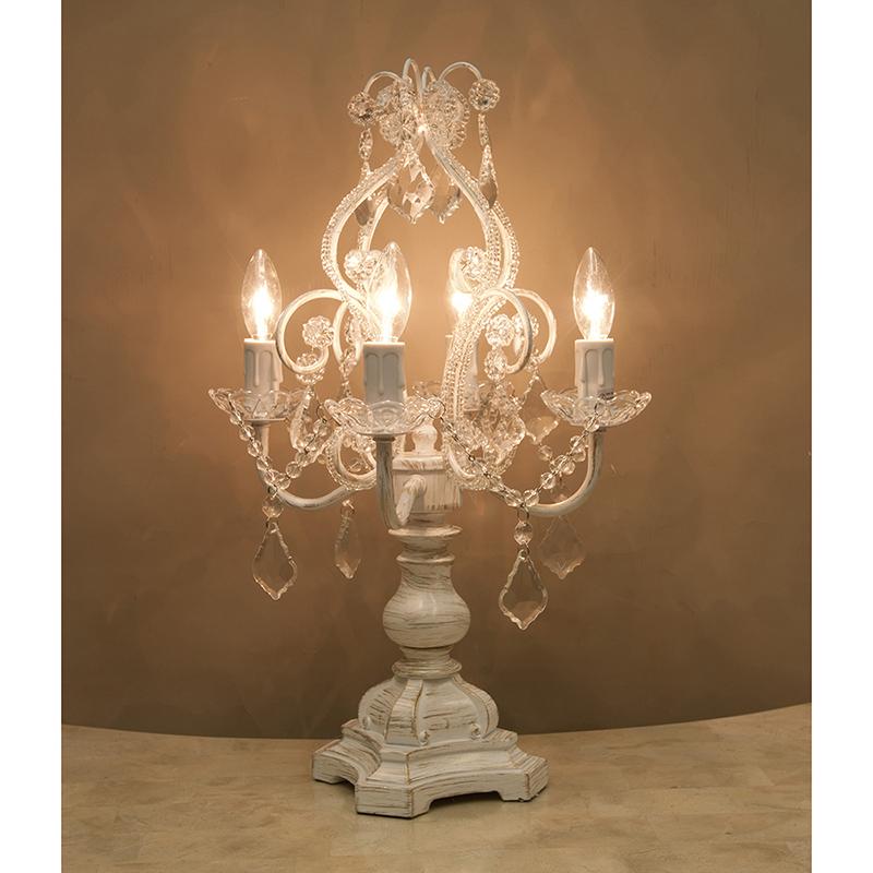 卓上シャンデリアランプ4灯 カラー:アンティークホワイトテーブルランプ シャンデリア型 クラシック おしゃれ  RESDL1248AW-2