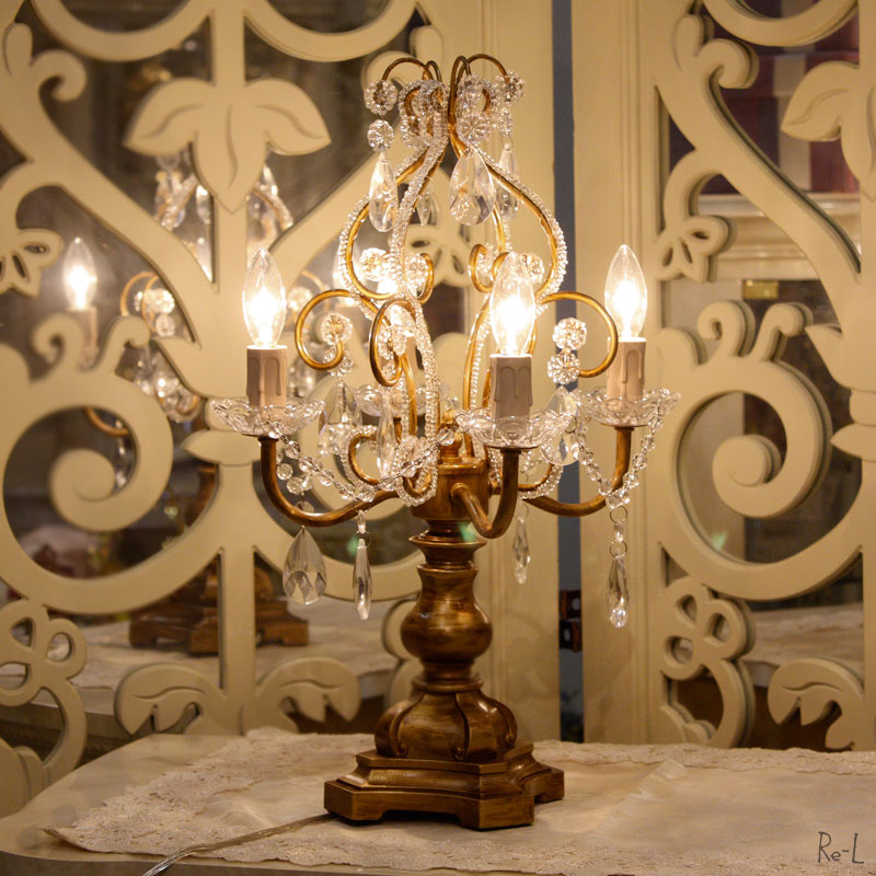 卓上シャンデリアランプ4灯 カラー:アンティークゴールド【テーブルランプ シャンデリア型 クラシック おしゃれ】RESDL1248CG