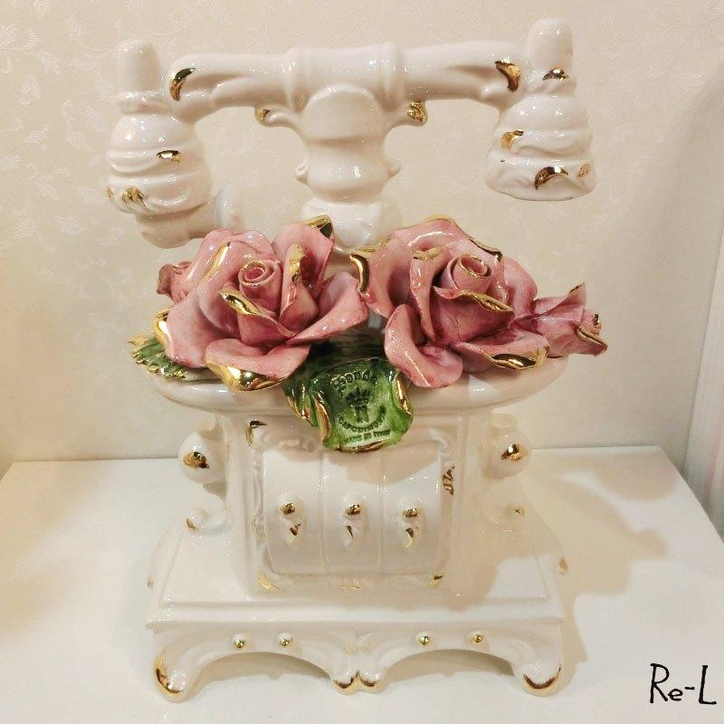 イタリア製 陶磁器 バラの電話機 置物RE81496