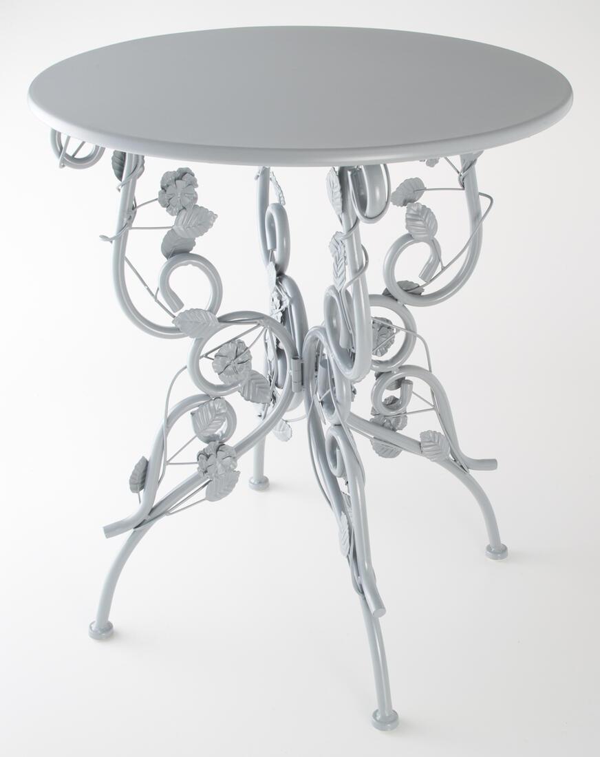 アイアン製 ラウンドテーブル ブルーグレーアイアン テーブル カフェテーブル コーヒーテーブル サイドテーブル プレゼント ギフト インテリア ショップ ディスプレイ おしゃれ かわいい 丸 円形 姫系 姫 北欧 輸入家具 送料無料RE71815