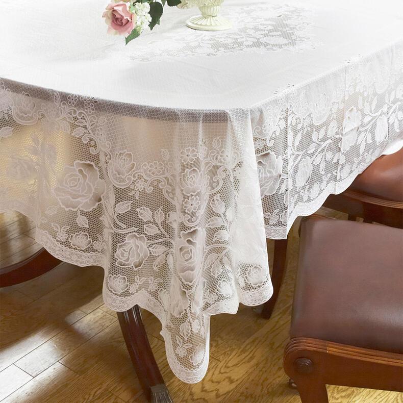 輸入雑貨 薔薇とレースのデザインが可愛いテーブルクロス テーブルクロス 135×180ホワイト ローズ バラ ビニール レース おしゃれ かわいい 白 撥水 防水 透明 北欧 花柄 薔薇 長方形 送料無料RE72495