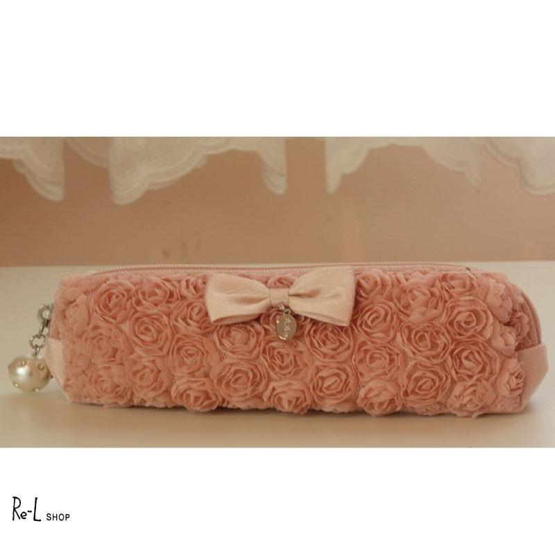 完売 メール便配送選択可 リボンとミニバラモチーフが可愛いペンケース ミニローズシリーズペンケースカラー:ピンク花 バラ かわいい おしゃれ リボン WEB限定 RE03AMR-10MP