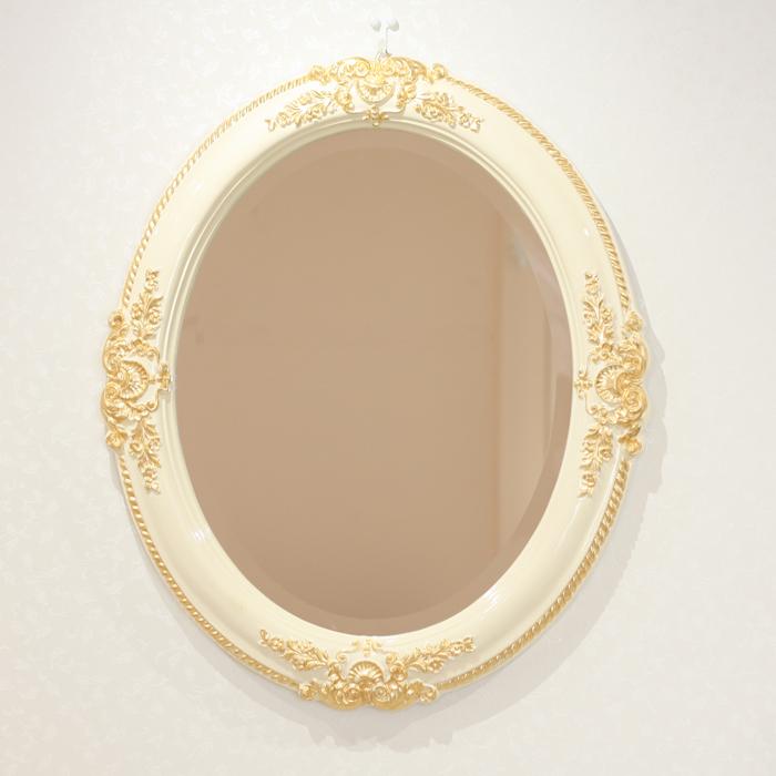 【イタリア製 壁掛けミラー アイボリー×ゴールド】鏡 ミラー おしゃれ エレガント ゴールド かわいい ウォールミラー 壁 玄関 北欧 楕円 壁掛け鏡RESPID270