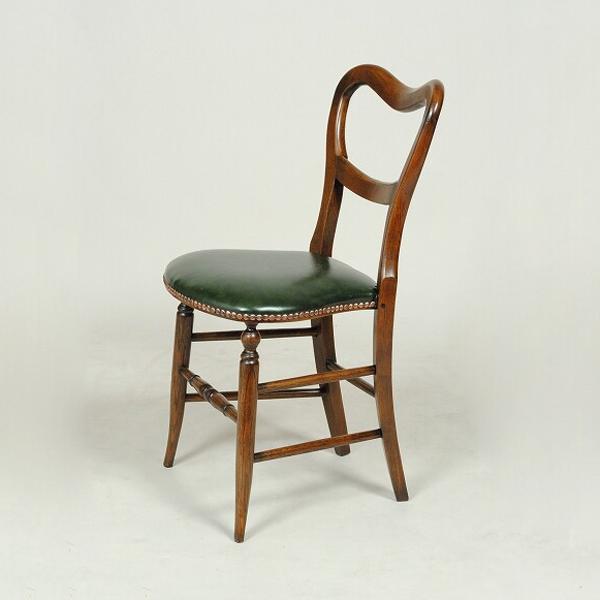 アンティークオーク バルーンチェア 張地グリーンアンティーク クラシック オーク シンプル チェア レザー グリーン イギリス おしゃれ かわいい 合皮 無垢 無垢材 椅子 玄関 木 木製 天然木 北欧 輸入家具 送料無料REJG467L-G