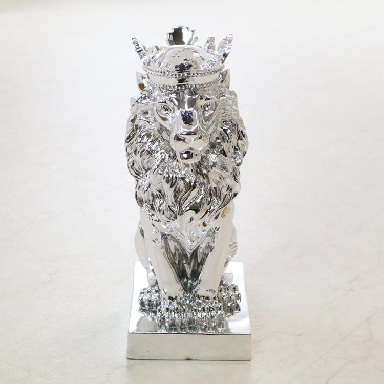 ライオン オブジェ シルバーインテリア モダン オブジェ プレゼント ギフト ディスプレイ ショップ アンティーク シルバー かわいい おしゃれ 飾り 贈り物 王冠 玄関 置物 動物 北欧 送料無料REKYM/T029S