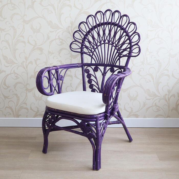 送料無料 扇状に広がった背もたれが特徴のラタンチェア 籐編み キングチェア パープルラタン お値打ち価格で チェア ディスプレイ インテリア ナチュラル アンティーク シャビー シャビーシック フレンチ アームチェア 輸入家具 おしゃれ オブジェ 35%OFF 北欧 ショップ 木製 かわいい 15161BL 籐 送料無料REIKW 椅子