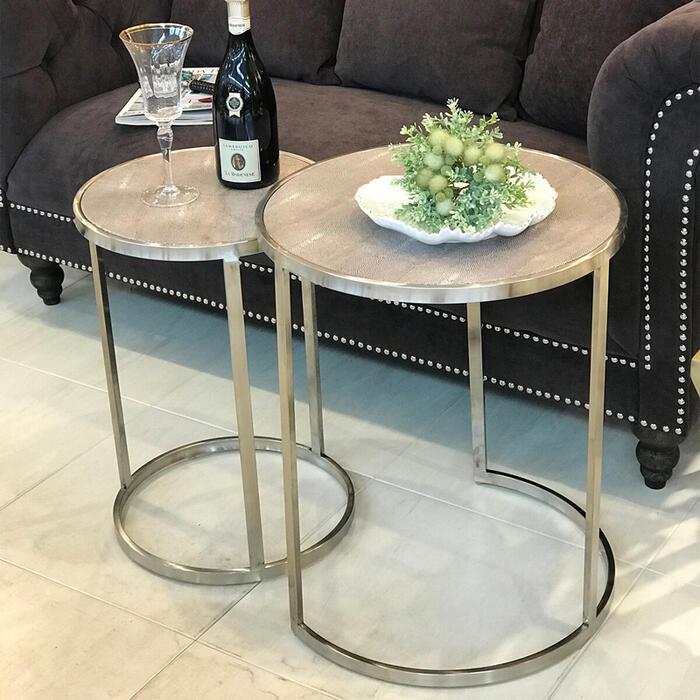 ネストテーブル レザートップサイドテーブル テーブル セット ナイトテーブル レザー カフェ モダン インテリア ショップ ディスプレイ おしゃれ かわいい 合皮 北欧 姫 姫系 玄関 送料無料REAN-45496