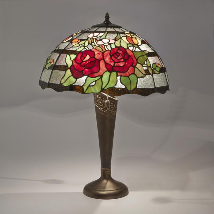 ステンドグラス テーブルランプ クラシックローズLED対応 ガラス スタンドランプ ローズ バラ ランプ ライト インテリア ディスプレイ クラシック アンティーク ショップ プレゼント ギフト おしゃれ かわいい 照明 卓上 薔薇 姫系 北欧 送料無料RE689412