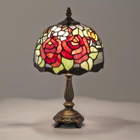 ステンドグラス テーブルランプ クラシックローズLED対応 ガラス スタンドランプ バラ ローズ ランプ ライト インテリア ディスプレイ クラシック アンティーク ショップ プレゼント ギフト おしゃれ かわいい 照明 卓上 薔薇 姫系 北欧 送料無料RE689201