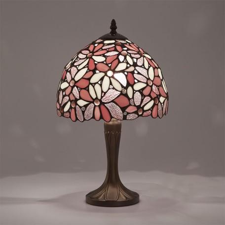 ステンドグラス テーブルランプ ハナハナ ピンクLED対応 ガラス スタンドランプ ランプ ライト インテリア ディスプレイ クラシック アンティーク ショップ プレゼント ギフト おしゃれ かわいい 照明 卓上 花柄 姫系 北欧 送料無料RE689327