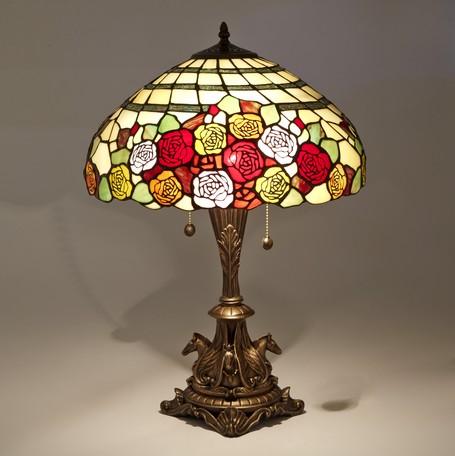 ステンドグラス テーブルランプ ローズLED対応 ガラス スタンドランプ ランプ ライト バラ インテリア ディスプレイ クラシック アンティーク ショップ プレゼント ギフト おしゃれ かわいい 照明 卓上 薔薇 姫系 北欧 送料無料RE689414