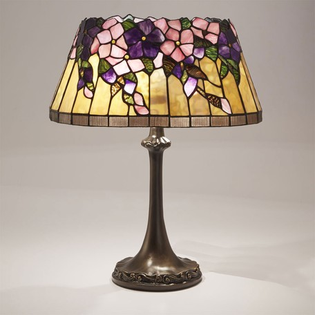 ステンドグラス テーブルランプ クレマティスLED対応 ガラス スタンドランプ ランプ ライト インテリア ディスプレイ クラシック アンティーク ショップ プレゼント ギフト おしゃれ かわいい 照明 卓上 花柄 姫系 北欧 送料無料RE689442