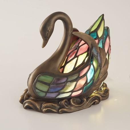 ステンドグラス テーブルランプ スワンLED対応 ガラス スタンドランプ ランプ ライト インテリア ディスプレイ クラシック アンティーク ショップ プレゼント ギフト おしゃれ かわいい 照明 卓上 鳥 姫系 北欧 送料無料RE689733