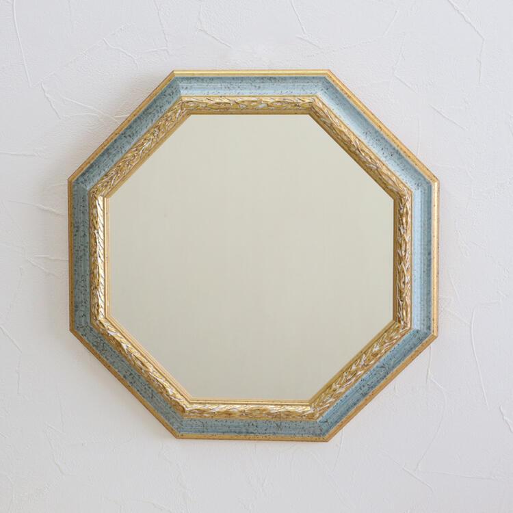 イタリア製 八角形 ウォールミラー ブルー×ゴールドアンティーク クラシック ミラー インテリア ディスプレイ ショップ ギフト プレゼント イタリア おしゃれ かわいい 壁掛け 鏡 八角形 風水 玄関 北欧 姫系 輸入雑貨 送料無料RE55-147B