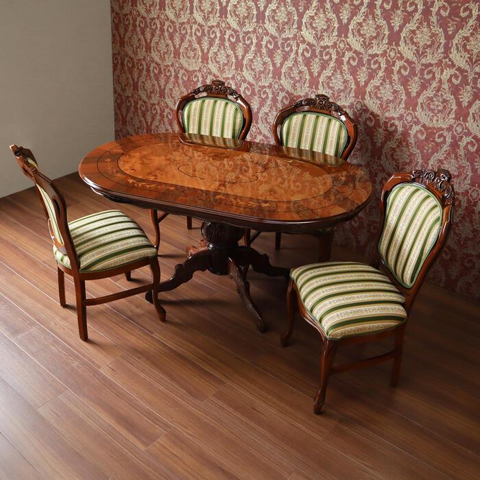 イタリア製 象嵌 ダイニングテーブル 5点セットイタリア テーブル チェア セット ダイニングセット クラシック ブラウン ダイニング おしゃれ かわいい 5点 4人 4人掛け 艶有り 楕円 北欧 猫脚 木 木製 食卓 椅子 輸入家具 送料無料REI3-150-RIL/AB-8601B-GR