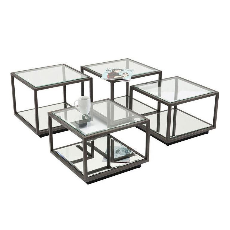アイアン×ガラス カフェテーブル 4Pセットサイドテーブル テーブル ガラス アイアン モダン インテリア コーヒーテーブル ナイトテーブル セット ディスプレイ ギフト プレゼント おしゃれ かわいい 花台 電話台 北欧 送料無料REEH-364