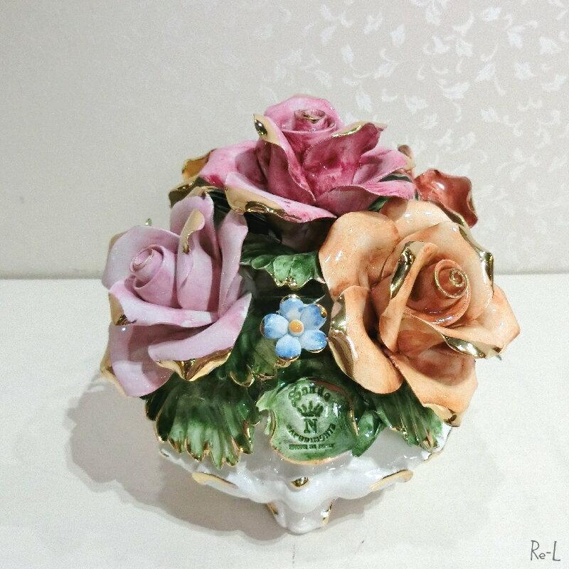 【送料無料】イタリア製 陶花 カラフル 置物 RE81397