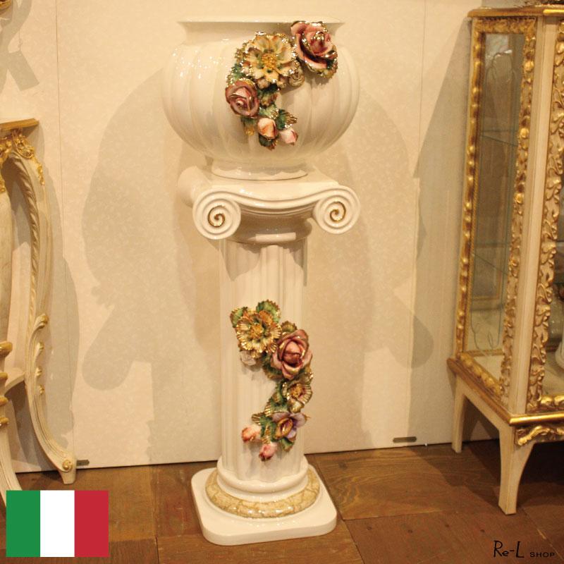 イタリア製 陶花 花瓶 コンソール 置物 RET08578