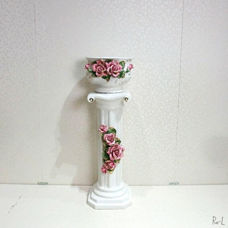 【送料無料】イタリア製 陶花 ベース コラム 花瓶 フラワー ピンク 置物 ギフトなどにRE81501
