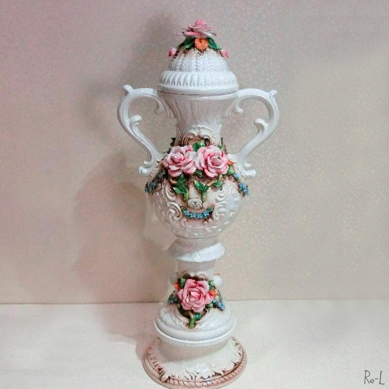 ★イタリア製 陶花 花瓶 コンソール 置物玄関 インテリア REJ8467CAP