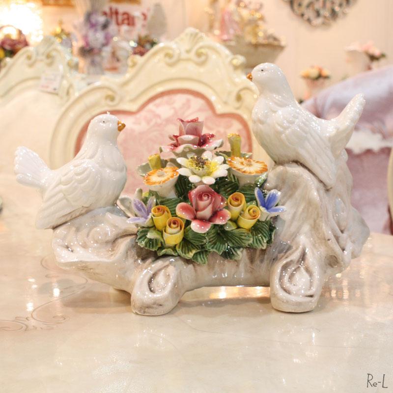 【送料無料】イタリア製 鳩と陶花の置物お祝い 新築祝い玄関 オブジェ ディズプレイ REJ4-A758