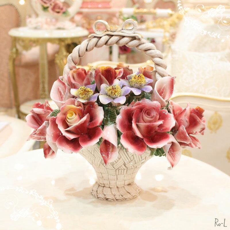 イタリア製 陶花 花かご ピンク 置物 REJ4-A871