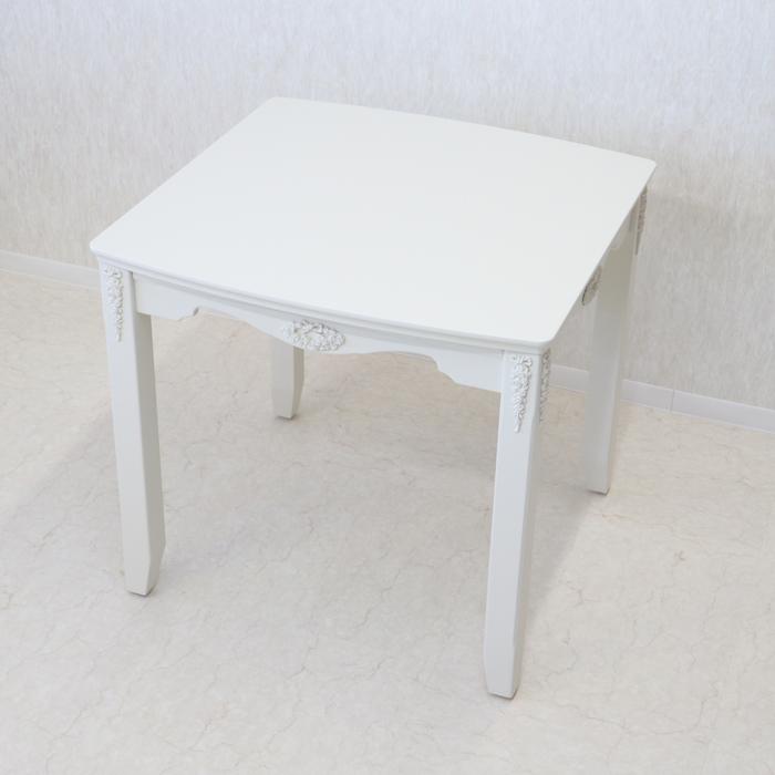 チェレスタ 80ダイニングテーブル 専用マット付国産 ホワイト ローズ リボン エレガント プリンセス ガーリー シンプル テーブル かわいい おしゃれ 白 食卓 単品 二人用 二人 2人 2人掛け 楕円 正方形 白家具 北欧 姫 姫系 80×80 木 木製 日本製 送料無料