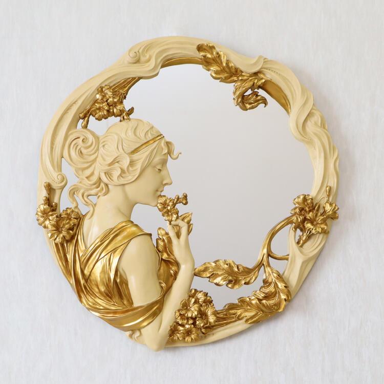 ヴェロネーゼ ウォールミラー アイボリー×ゴールドアンティーク クラシック エレガント ミラー アイボリー ゴールド おしゃれ かわいい 壁掛け 壁掛けミラー 鏡 丸 円 送料無料RE0970 AA-1283